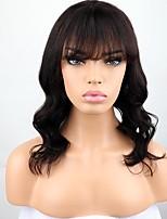 Недорогие -человеческие волосы Remy 360 Лобовой Парик Бразильские волосы Крупные кудри Парик Ассиметричная стрижка 130% Плотность волос Мягкость Для вечеринок Удобный 100% девственница Нейтральный Жен. Длинные