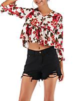 Недорогие -женская блузка - цветочный v-образный вырез