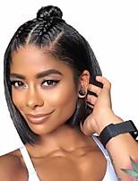 Недорогие -человеческие волосы Remy Натуральные волосы 6x13 Тип замка Лента спереди Парик Бразильские волосы Шелковисто-прямые Черный Парик Стрижка боб Короткий Боб 150% Плотность волос / Природные волосы