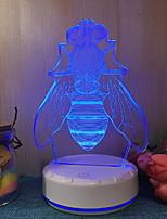 Недорогие -1шт 3D ночной свет Тёплый белый USB С портом USB <=36 V