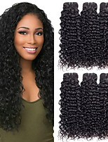 Недорогие -6 Связок Малазийские волосы Кудрявый Волнистые Необработанные натуральные волосы 100% Remy Hair Weave Bundles Головные уборы Человека ткет Волосы Уход за волосами 8-28 дюймовый Естественный цвет