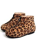 Недорогие -Девочки Обувь Замша Зима Удобная обувь / Модная обувь Ботинки для Дети Черный / Цвет-леопард