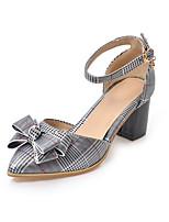 Недорогие -Жен. Полиуретан Весна лето Обувь на каблуках На толстом каблуке Заостренный носок Бант / Пряжки Белый / Черный
