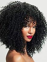 Недорогие -человеческие волосы Remy Лента спереди Парик Бразильские волосы Kinky Curly Парик Средняя часть 150% 180% 250% Плотность волос Лучшее качество Горячая распродажа Толстые с клипом Нейтральный Жен.