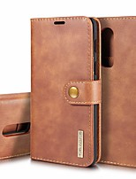 Недорогие -Кейс для Назначение OnePlus OnePlus 6 Бумажник для карт / Защита от удара / со стендом Чехол Однотонный Твердый Настоящая кожа для OnePlus 6