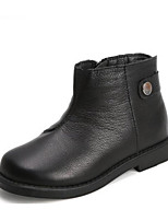 Недорогие -Девочки Обувь Кожа Зима Модная обувь / Ботильоны Ботинки для Для подростков Черный / Бежевый