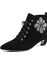 Недорогие -Жен. Наппа Leather / Полиуретан Зима Ботинки На толстом каблуке Ботинки Черный