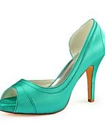 Недорогие -Жен. Сатин Лето Свадебная обувь На шпильке Открытый мыс Зеленый / Свадьба / Для вечеринки / ужина