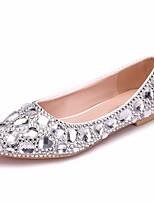 abordables -Femme Polyuréthane Printemps & Automne Doux Chaussures de mariage Talon Plat Bout pointu Strass / Paillette Argent / Mariage