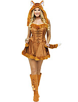 abordables -Animal Loup femmes Robes Chapeau Père Noël Femme Adulte Halloween Noël Noël Halloween Carnaval Fête / Célébration Térylène Polyester Tenue Marron Animal