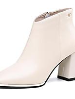 Недорогие -Жен. Наппа Leather Осень Милая / Минимализм Обувь на каблуках На толстом каблуке Ботинки Черный / Бежевый