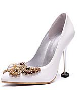 abordables -Femme Polyuréthane Automne hiver Doux Chaussures de mariage Kitten Heel Bout pointu Noeud Blanc / Mariage / Soirée & Evénement