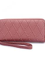 Недорогие -Жен. Мешки PU Бумажники Молнии Сплошной цвет Красный / Розовый / Серый