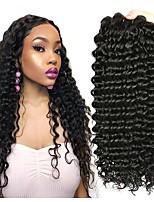 Недорогие -4 Связки Бразильские волосы Крупные кудри Не подвергавшиеся окрашиванию Необработанные натуральные волосы Человека ткет Волосы One Pack Solution Накладки из натуральных волос 8-28 дюймовый