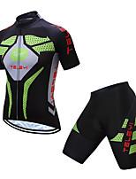 Недорогие -TELEYI С короткими рукавами Велокофты и велошорты - Зеленый Велоспорт Быстровысыхающий Однотонный / Эластичная