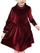 Недорогие -Дети Девочки Классический Однотонный Длинный рукав Платье Розовый