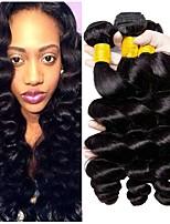 Недорогие -3 Связки Перуанские волосы Свободные волны 8A Натуральные волосы Необработанные натуральные волосы Головные уборы Человека ткет Волосы Сувениры для чаепития 8-28 дюймовый Естественный цвет