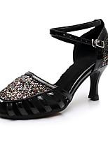 Недорогие -Жен. Обувь для латины Лакированная кожа На каблуках Блеск Кубинский каблук Персонализируемая Танцевальная обувь Черный