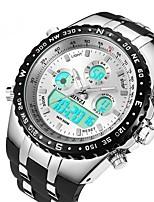 Недорогие -Муж. Спортивные часы Цифровой Черный Защита от влаги С двумя часовыми поясами Фосфоресцирующий Аналоговый Цифровой На каждый день Мода - Белый Черный / Крупный циферблат