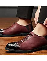 Недорогие -Муж. Комфортная обувь Наппа Leather Весна & осень Мокасины и Свитер Черный / Винный