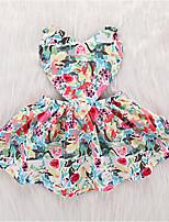 Недорогие -Дети (1-4 лет) Девочки Активный Повседневные Геометрический принт Без рукавов До колена Полиэстер Платье Розовый