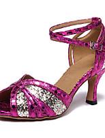 Недорогие -Жен. Обувь для латины Синтетика На каблуках Блеск Кубинский каблук Персонализируемая Танцевальная обувь Цвет радуги