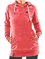 Недорогие -женская толстовка с длинным рукавом - однотонный с капюшоном красный с