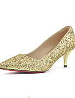 baratos -Mulheres Sintéticos Primavera & Outono / Outono Sapatos De Casamento Salto Agulha Dedo Apontado Lantejoulas Dourado / Prata