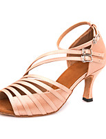 Недорогие -Жен. Обувь для латины Сатин На каблуках / Кроссовки Пряжки Тонкий высокий каблук Персонализируемая Танцевальная обувь Темно-Серый / Телесный