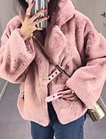 Недорогие -Жен. Повседневные Классический Зима Обычная Пальто с мехом, Однотонный Рубашечный воротник Длинный рукав Искусственный мех Зеленый / Розовый / Винный M / L / XL