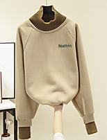 baratos -camisola de algodão manga comprida feminina - carta gola cáqui m