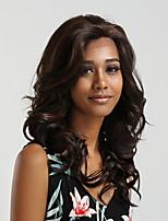 Недорогие -Парики из искусственных волос / Синтетические кружевные передние парики Жен. Блестящий завиток Темно-коричневый Боковая часть 130% Человека Плотность волос Искусственные волосы 20 дюймовый