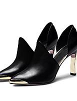 Недорогие -Жен. Наппа Leather Весна лето Милая Обувь на каблуках На толстом каблуке Заостренный носок Черный / Красный / Для вечеринки / ужина