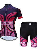 abordables -TELEYI Manches Courtes Maillot et Cuissard de Cyclisme - Rouge de Rose Vélo Respirable, Séchage rapide Graphique / Elastique