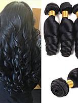 Недорогие -3 Связки Малазийские волосы Индийские волосы Свободные волны Натуральные волосы Необработанные натуральные волосы Wig Accessories Подарки Косплей Костюмы 8-28 дюймовый Естественный цвет