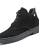 Недорогие -Жен. Полиуретан Зима На каждый день Ботинки На плоской подошве Круглый носок Ботинки Черный