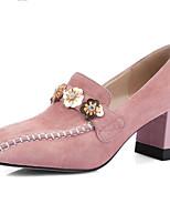 Недорогие -Жен. Замша Весна & осень На каждый день Обувь на каблуках На толстом каблуке Квадратный носок Стразы / Пайетки Черный / Розовый / Для вечеринки / ужина