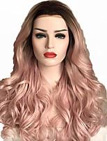 Недорогие -Парики из искусственных волос / Синтетические кружевные передние парики / Маскарадные парики Жен. Волнистый / Блестящий завиток Стрижка каскад / Боковая часть Искусственные волосы 35.5 дюймовый