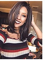 Недорогие -человеческие волосы Remy Полностью ленточные Лента спереди Парик Бразильские волосы Естественный прямой Парик Ассиметричная стрижка 130% 150% 180% Плотность волос
