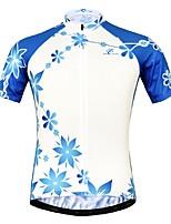 Недорогие -JESOCYCLING Жен. С короткими рукавами Велокофты - Синий / белый Велоспорт Джерси Верхняя часть, Быстровысыхающий 100% полиэстер / Эластичная