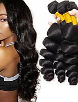 Недорогие -6 Связок Перуанские волосы Волнистый Свободные волны Натуральные волосы Необработанные натуральные волосы Человека ткет Волосы Уход за волосами Пучок волос 8-28 дюймовый Черный Естественный цвет