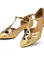 Недорогие -Жен. Обувь для латины Синтетика На каблуках Пайетки Кубинский каблук Персонализируемая Танцевальная обувь Золотой