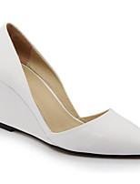 abordables -Femme Cuir Nappa / Peau de mouton Printemps Doux / Minimalisme Chaussures à Talons Hauteur de semelle compensée Bout pointu Blanc / Noir / Rose