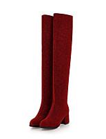 Недорогие -Жен. Эластичная ткань Наступила зима Милая Ботинки На толстом каблуке Заостренный носок Сапоги выше колена Коричневый / Серебряный / Красный