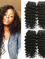 Недорогие -4 Связки Бразильские волосы Индийские волосы Крупные кудри Не подвергавшиеся окрашиванию Необработанные натуральные волосы Человека ткет Волосы One Pack Solution Накладки из натуральных волос 8-28