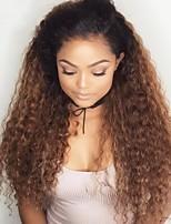 Недорогие -человеческие волосы Remy Полностью ленточные Лента спереди Парик Бразильские волосы Крупные кудри Loose Curl Темно-рыжий Парик Ассиметричная стрижка 150% 180% Плотность волос