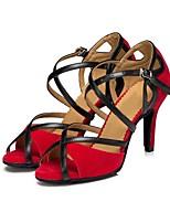 abordables -Femme Chaussures Latines Daim Sandale Talon Cubain Personnalisables Chaussures de danse Noir / Rouge
