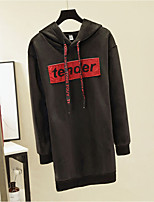 baratos -hoodie longo solto do algodão longo da luva das mulheres - letra encapuçado m preto