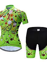 Недорогие -С короткими рукавами Велокофты и велошорты - Зеленый Велоспорт Дышащий, Быстровысыхающий Цветочные / ботанический / Эластичная