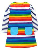 Недорогие -Дети Девочки Классический Однотонный Длинный рукав Платье Цвет радуги